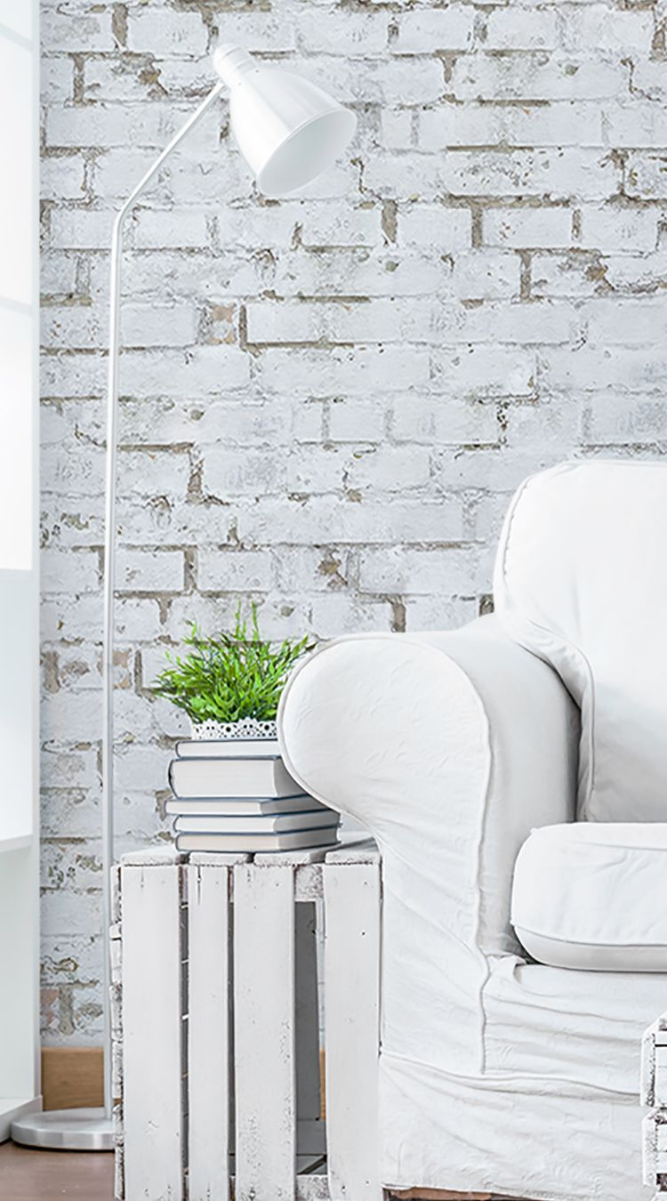 Old White Brick Wall Mural from Eazywallz Ideas Deco by flor ponzo