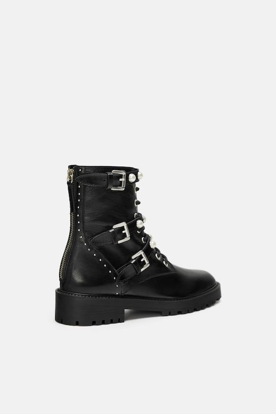 ee1f51519f9 Leather ankle boots with faux pearls in 2019 | shoes | Boots ...
