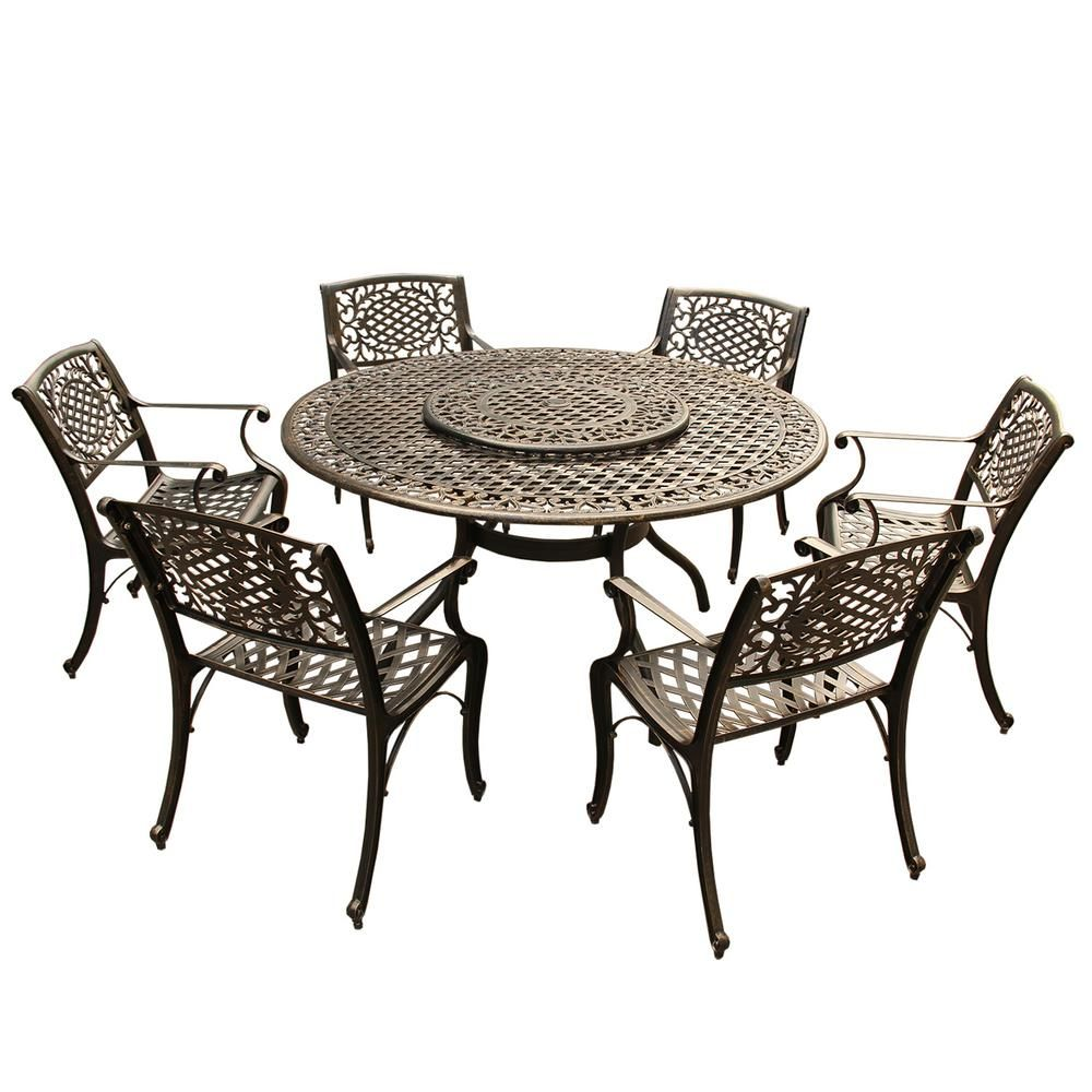 Outstanding Ornate Traditional 7 Piece Bronze Aluminum Round Outdoor Bralicious Painted Fabric Chair Ideas Braliciousco