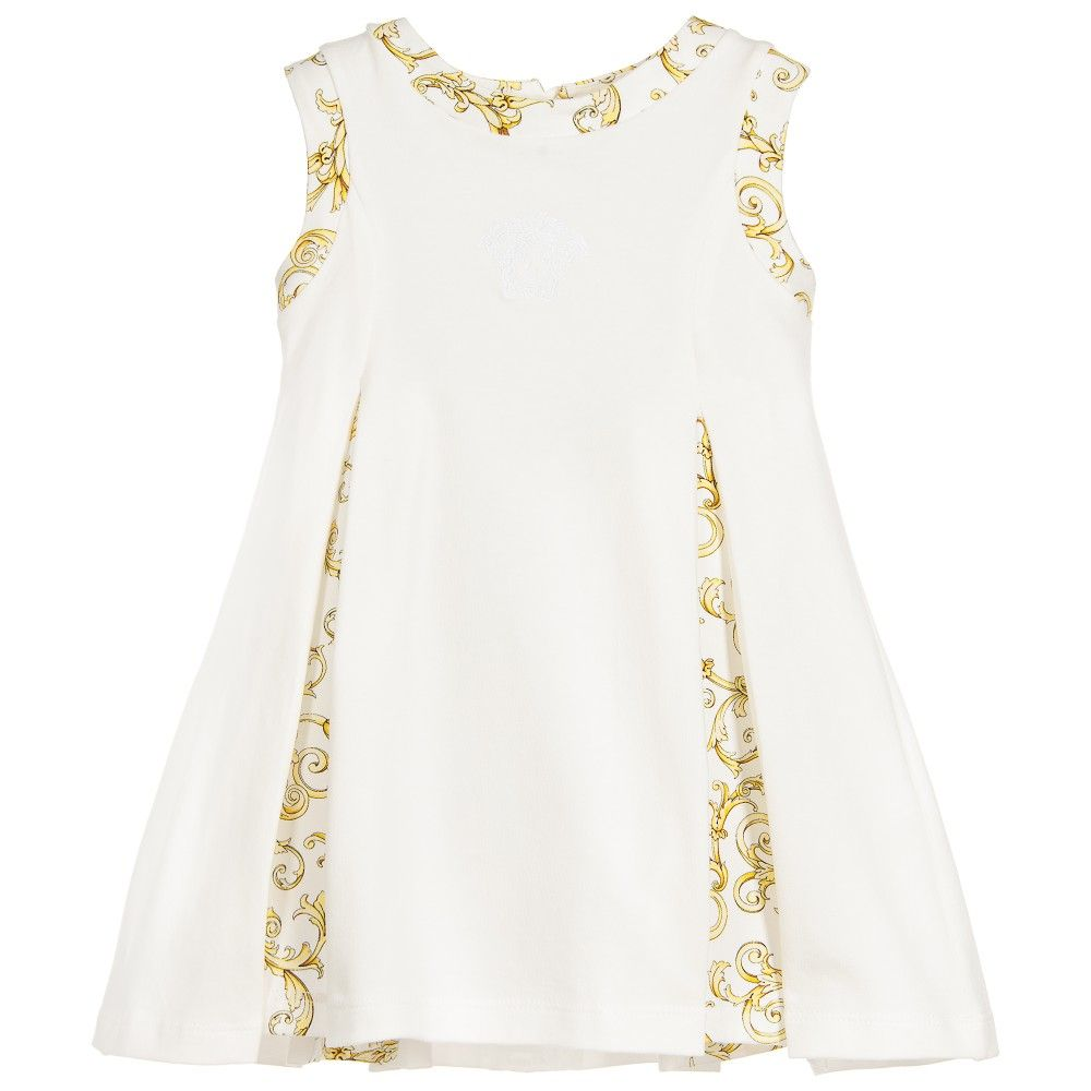 c048e2c34 Baby Girls White   Gold Baroque Pleated Dress