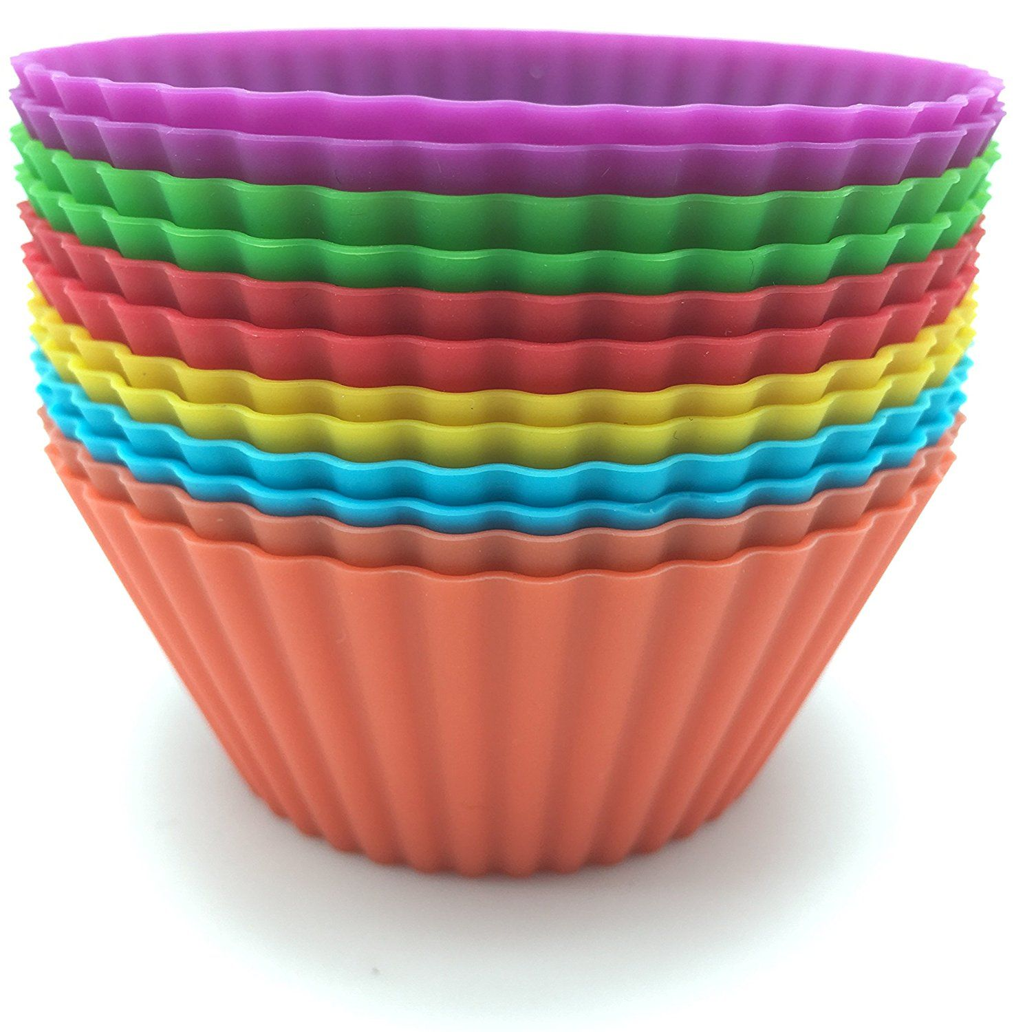 AGCware Silicone Baking Cups Cupcake Liners 12 Colourful Muffin