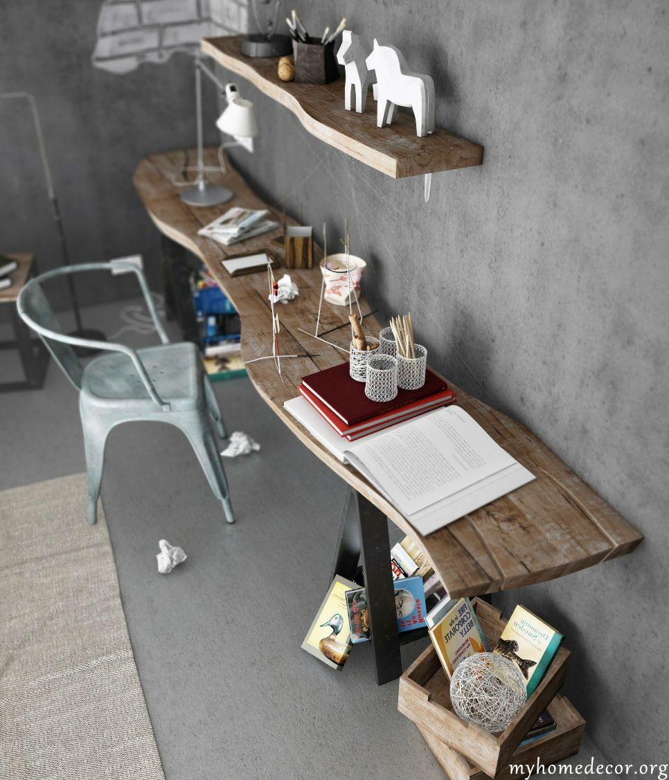 10 Inspirational Home Office Designs - My Home Decor Desk idea & unfinished shelves with cement | Downstairs | Pinterest | Office ...