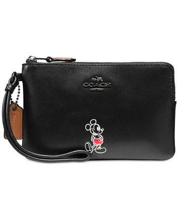 b23ef542f7 COACH Boxed Mickey Corner Zip Wristlet in Calf Leather