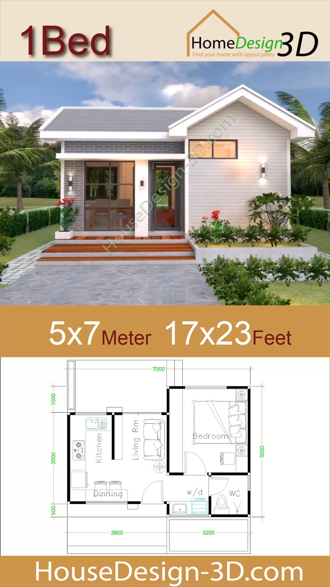 Small House Design Plans 5x7 with One Bedroom Gable Roof