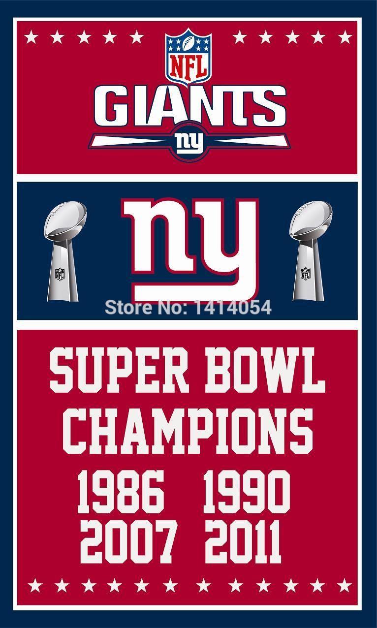 c4d97d32 New York Giants Super Bowl Champions Flag 150X90CM Banner 100D ...