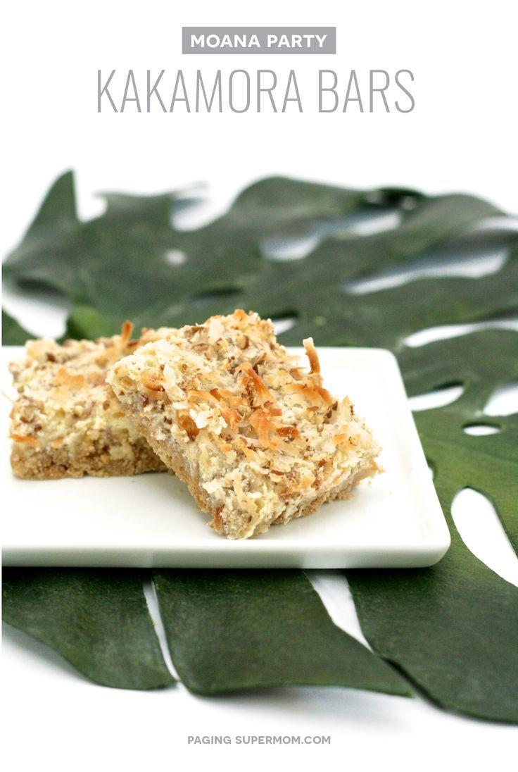 Moana party food ideas coconut kakamora treat bars for Bar food ideas recipes