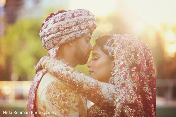Sweet shot of pakistani bride and groom. http://www.maharaniweddings.com/gallery/photo/103798