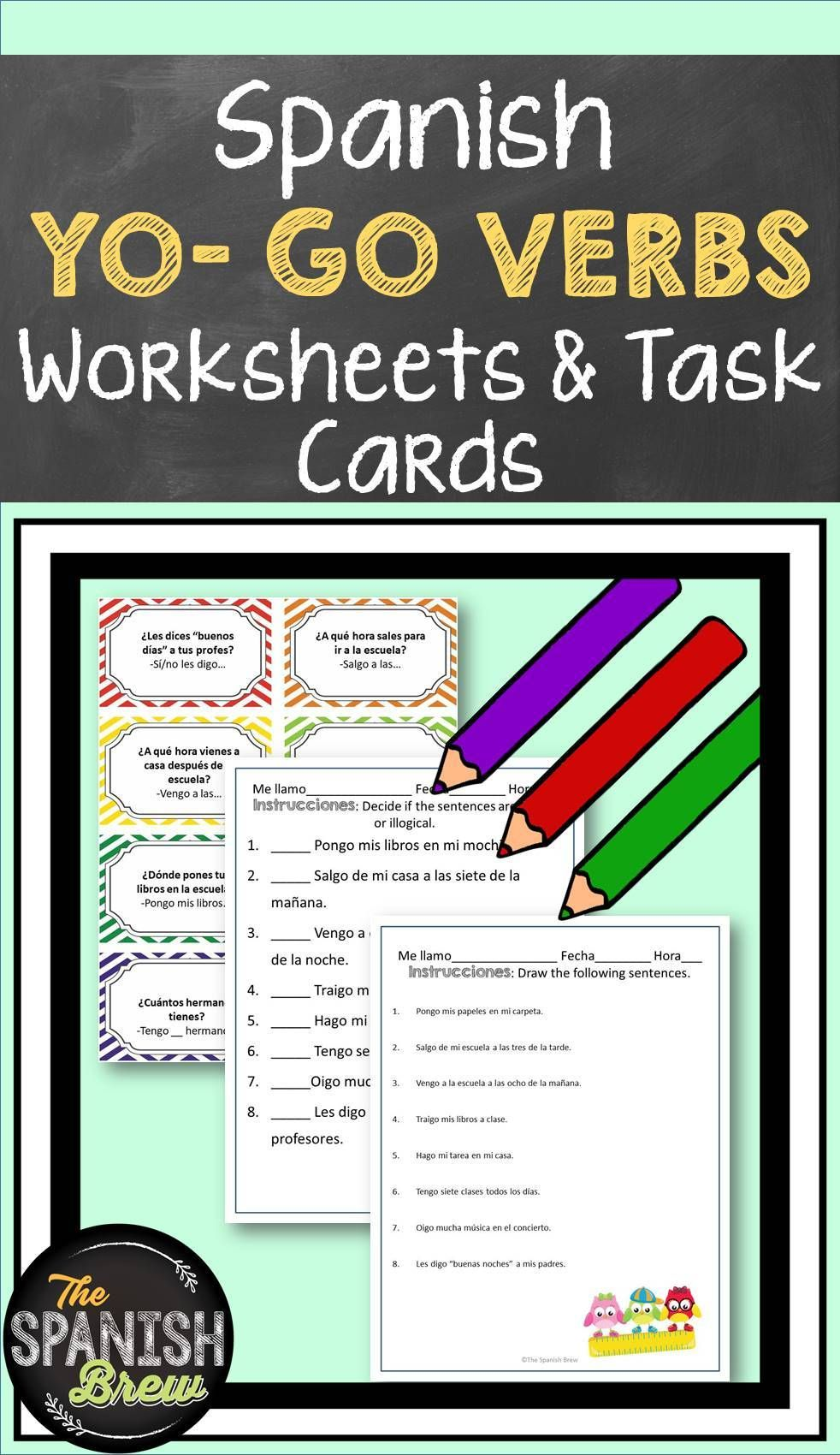 Your Spanish Students Will Love These Speaking Task Cards And Worksheets For Practicing Yo Go Present Tense Verbs Spanish Students Elementary Spanish Teaching [ 1700 x 982 Pixel ]