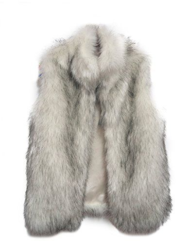 Fashion Women Faux Fur V-Neck One Hook Short Vest Waistcoat (XXL/US XL, Gray1) -- More info could be found at the image url.