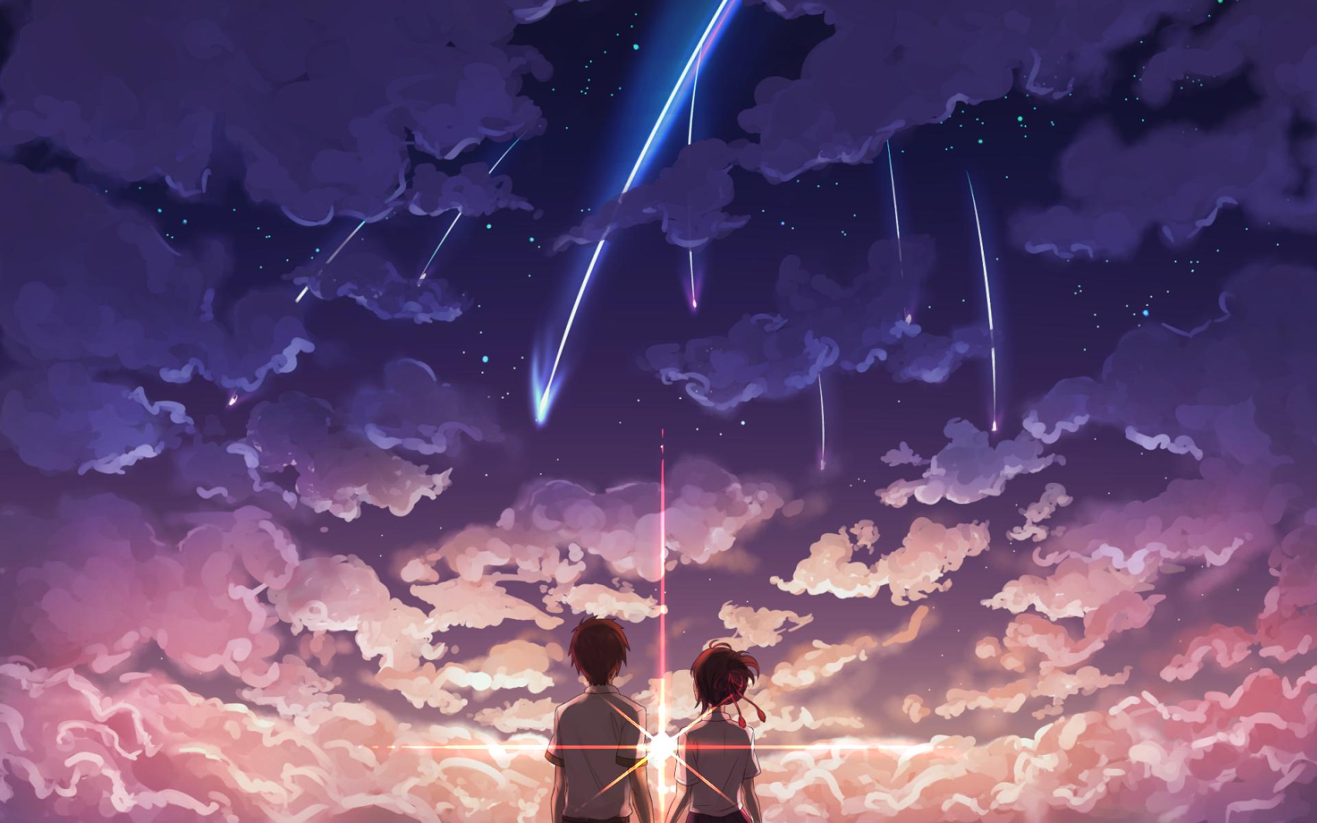 Kimi No Na Wa Scenic Mitsuha X Taki Clouds Kimi No Na Wa Wallpaper Your Name Anime Kimi No Na Wa