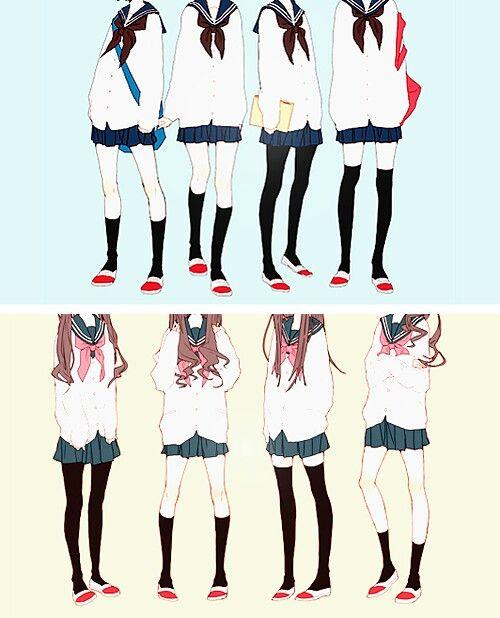 Japanese School Girl Outfits Seragam Sekolah Jepang Gambar Desain Karakter