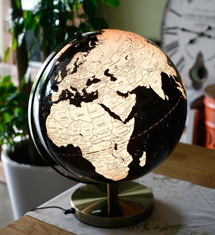 Black Modern World Globes Stand Lighted Lamp Table Top Office Globos