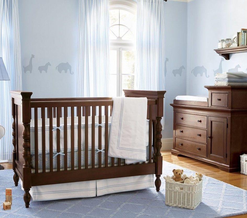 Cool Baby Boys Nursery Room Designs 2014 : Charming Light Blue Baby Boys Nursery Room Design with Classy Wood Minimalist Crib and White DIY ...