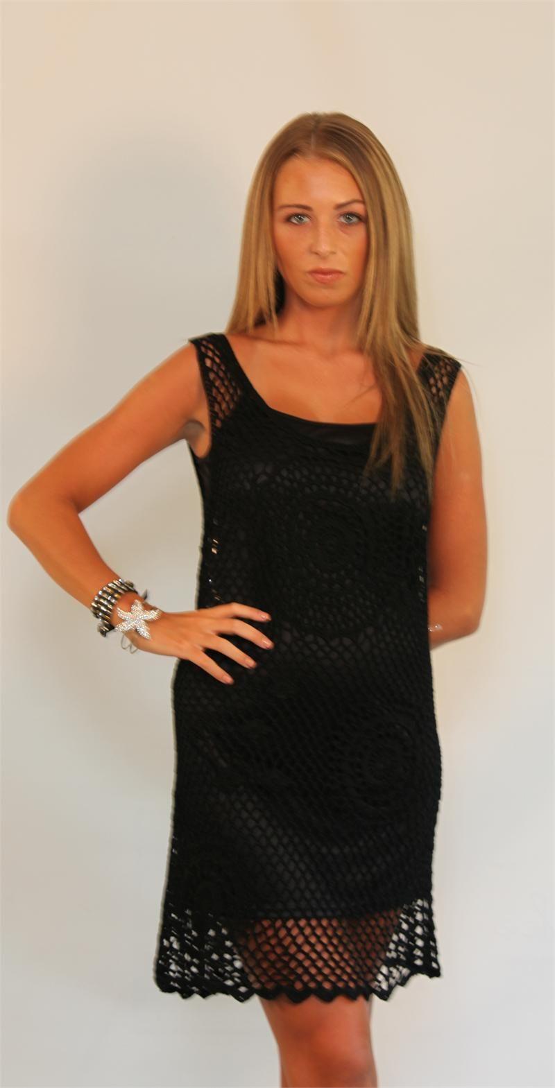 ANGIE Crochet Tank Dress black
