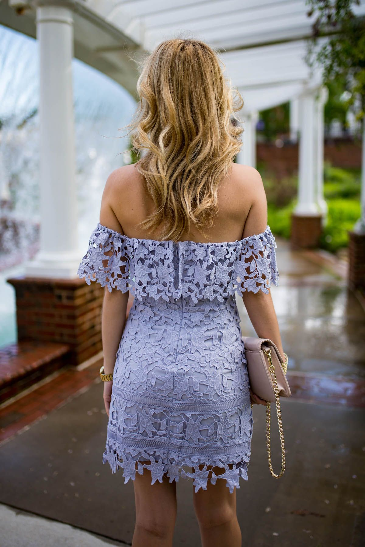 c91245bcd5 Headed out to a summer wedding  Off-the-shoulder + lace   the perfect wedding  guest pairing.