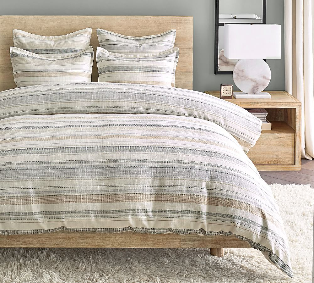 Clayton Striped Cotton Duvet Cover, Full/Queen