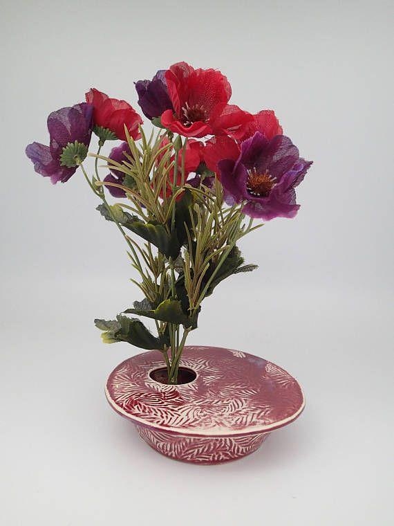 Ikebana Pot Ceramic Textured Vase Unique Floral Arrangement