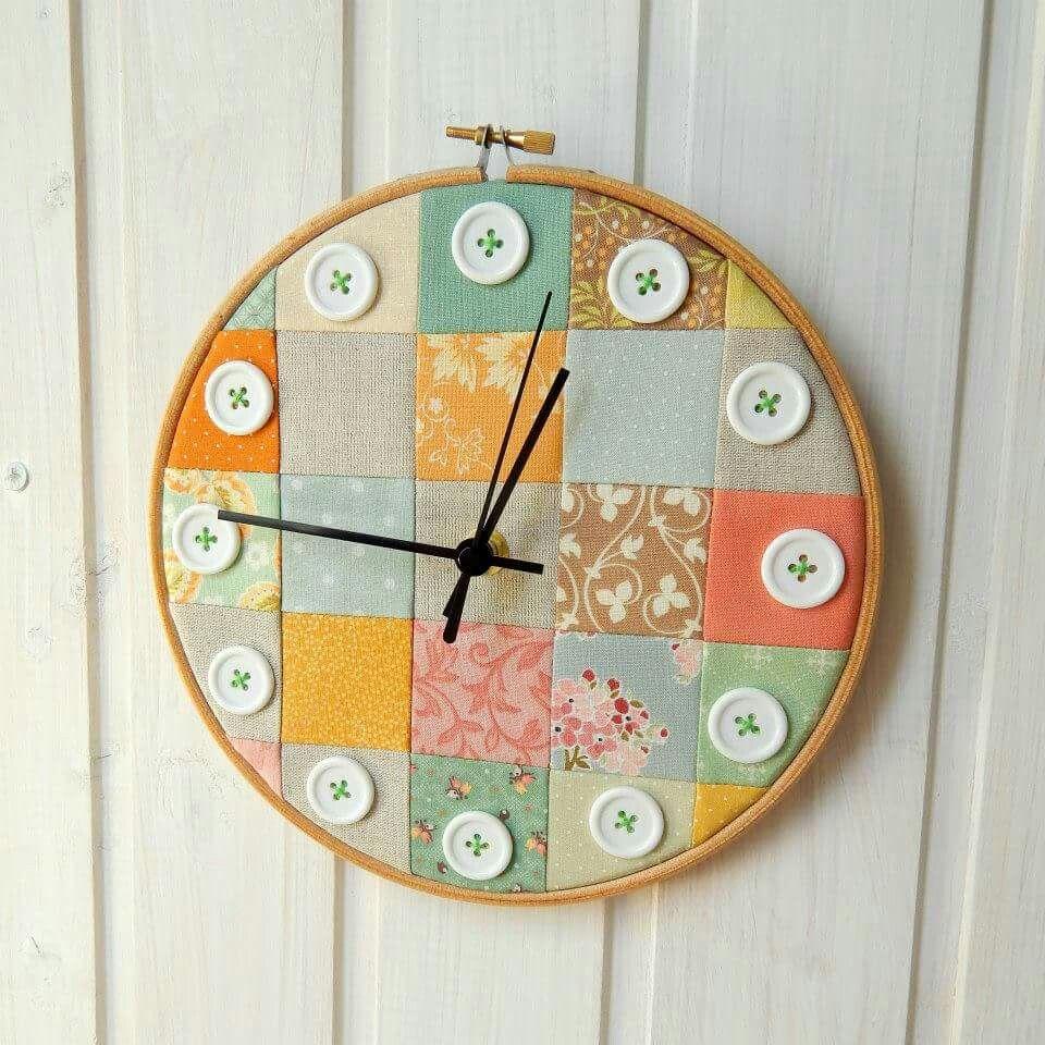 Quilt Clock Embroidery Hoop Crafts Sewing Room Decor Handmade Clocks