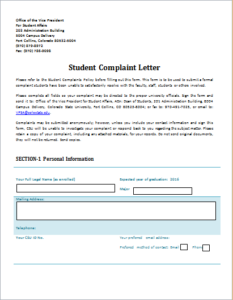 Student Complaint Letter Download At HttpWwwTemplateinnCom