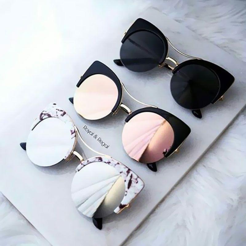 28543db84ce1 Buy Stylish Female Brand Designer Round Oversized Cat Eye Classic Pink  Mirror Cateye Sunglasses Women Party Vintage Lady Sun Glasses