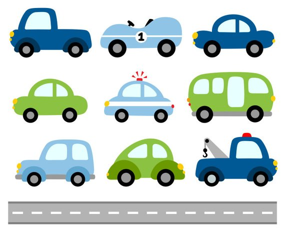 Cars Digital Clip Art, Transportation Clipart, Blue Green