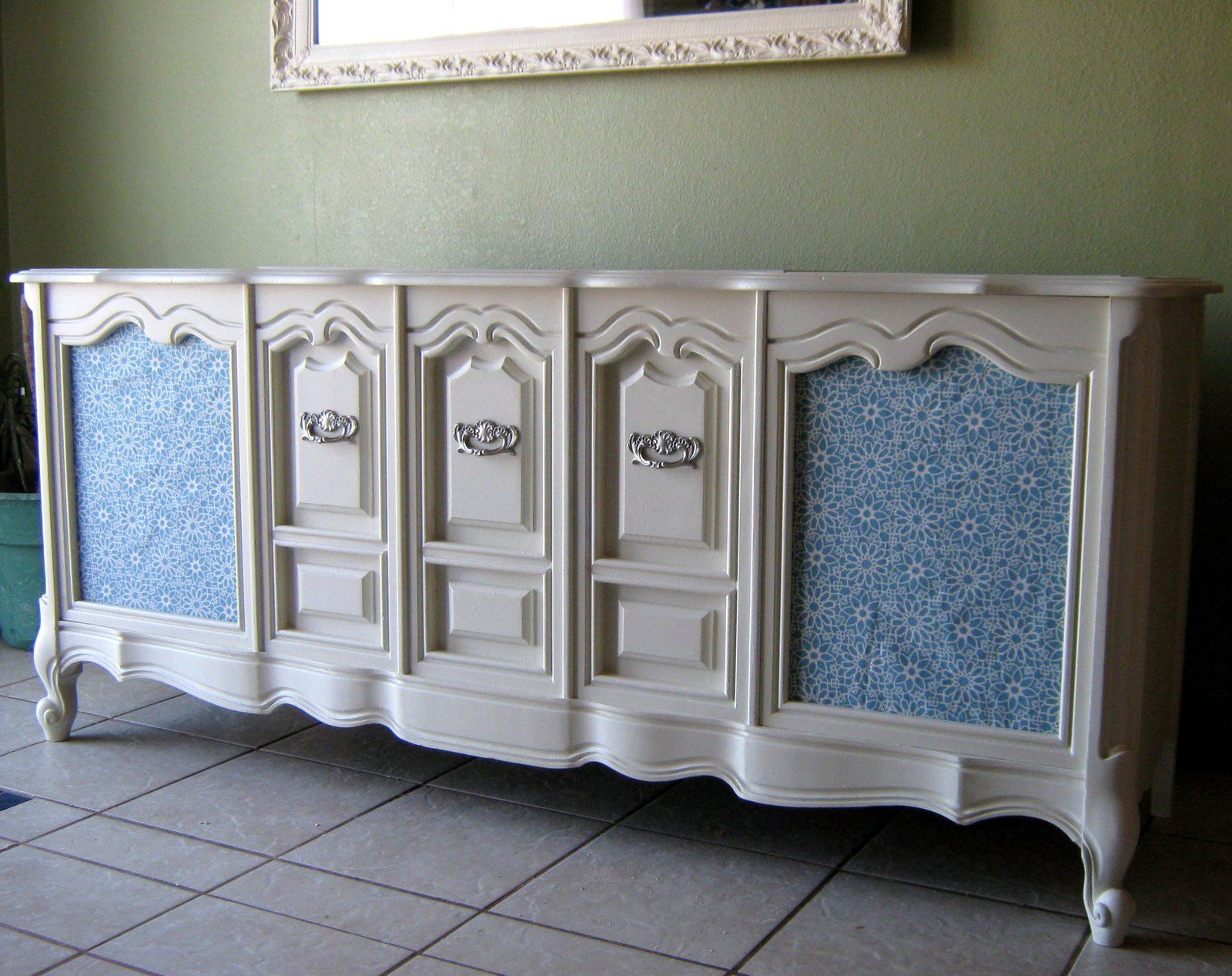 ugly wood stereo cabinet painted white, new fabric in the speaker ...