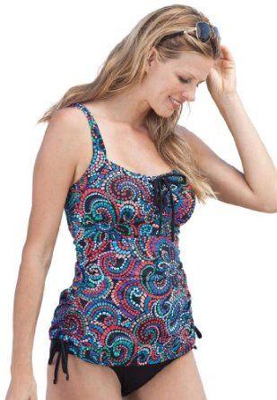 9c2ce1739 Woman Within Plus Size Swimsuit Print Tankini Swim 365 (Black Multi,16 W) Woman  Within. $47.49