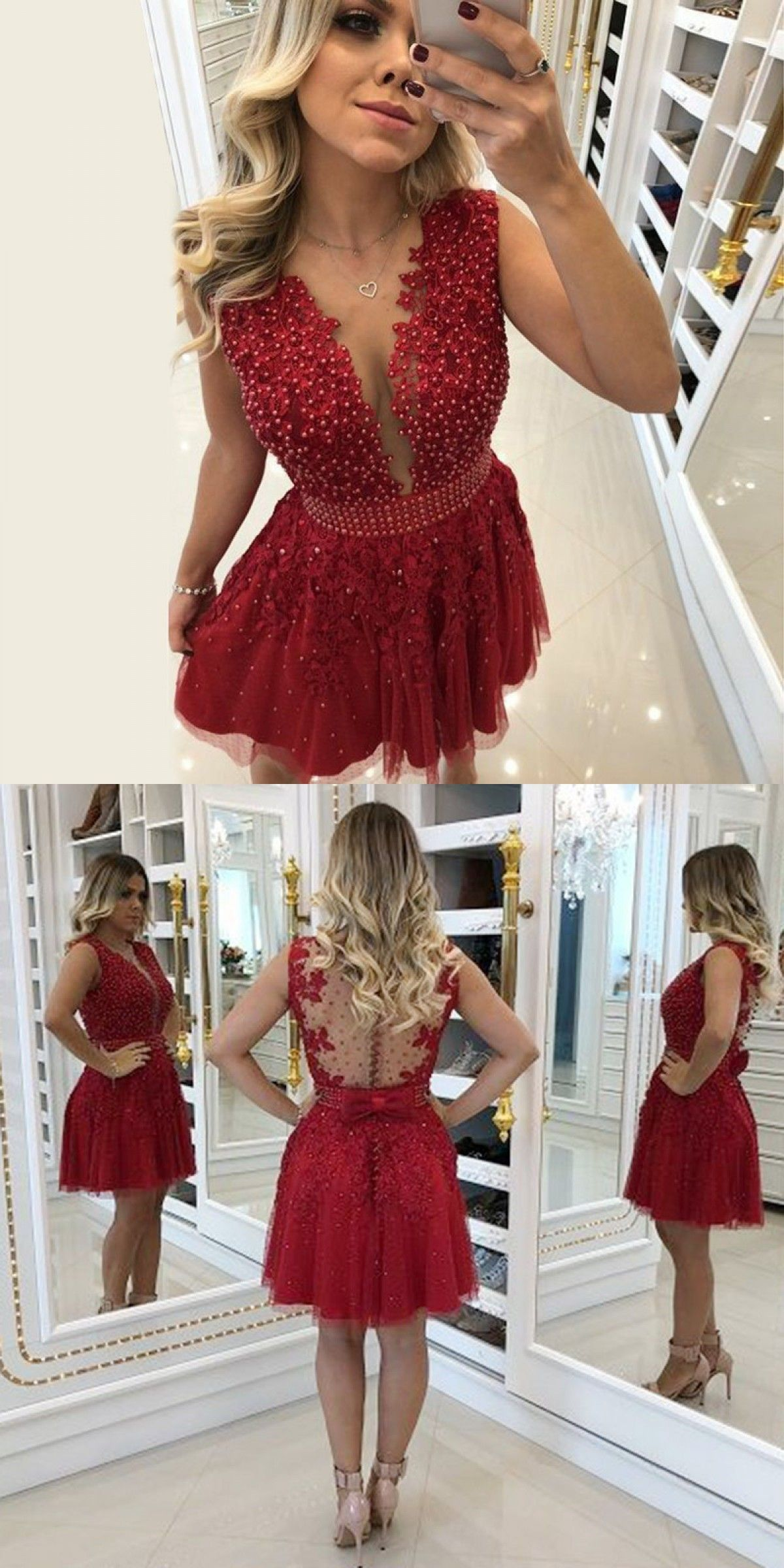 05f433db87 A-Line Round Neck Red Homecoming Prom Dress with Lace Beading Bow ...