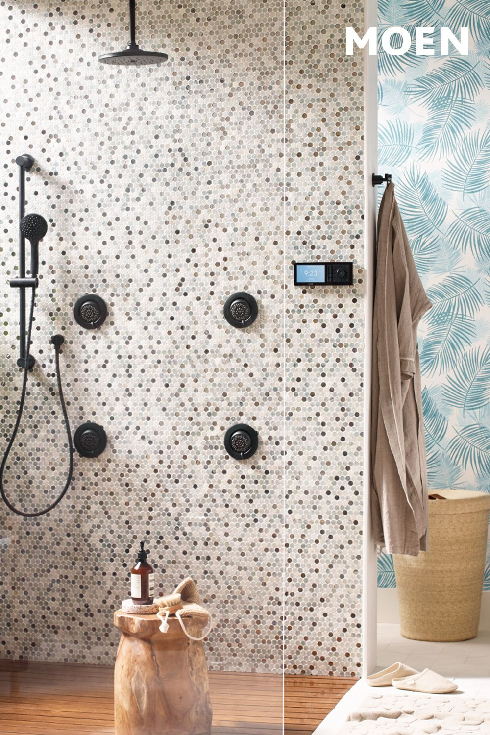 Pair U By Moen In Matte Black With Blue And White Wallpaper For