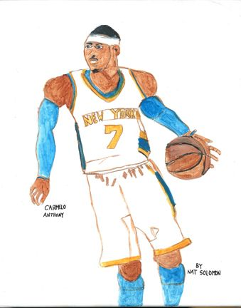 Celebrity artist Nat Solomon just created this painting and digital print of Carmelo Anthony.