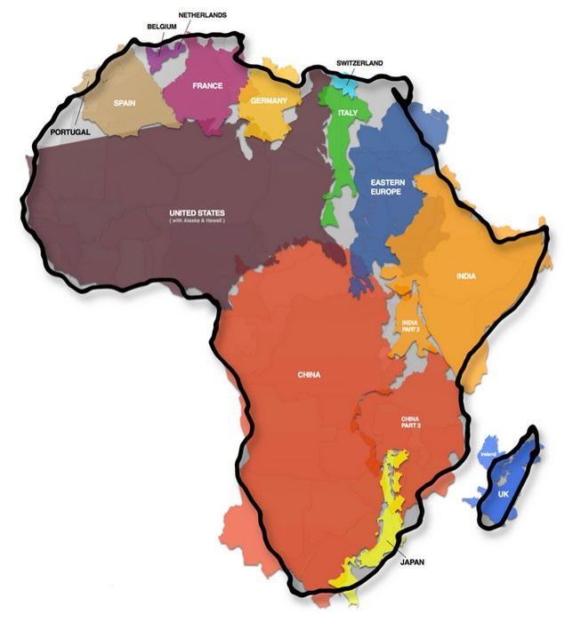 The True Size Of The African Continent Africa Africa Map Map