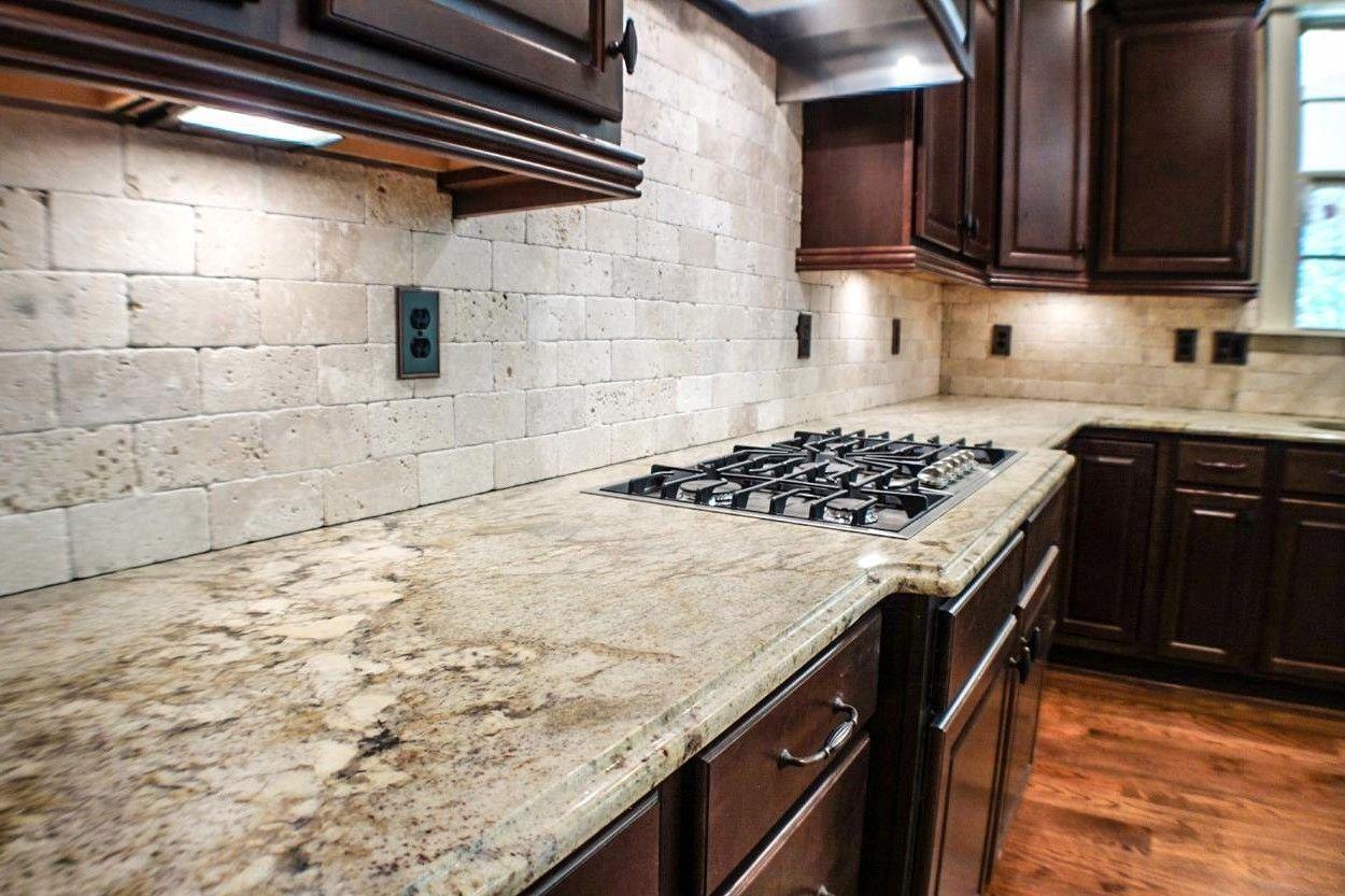 Cabinets Dark Wood Backsplash White Tumbled Stone Tiles