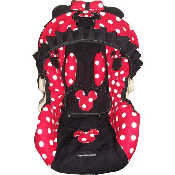 Red And White Polka Dot Minnie Mouse Infant Car Seat Cover Any Model 95 Liked On Polyvore Featuring Baby Stuff