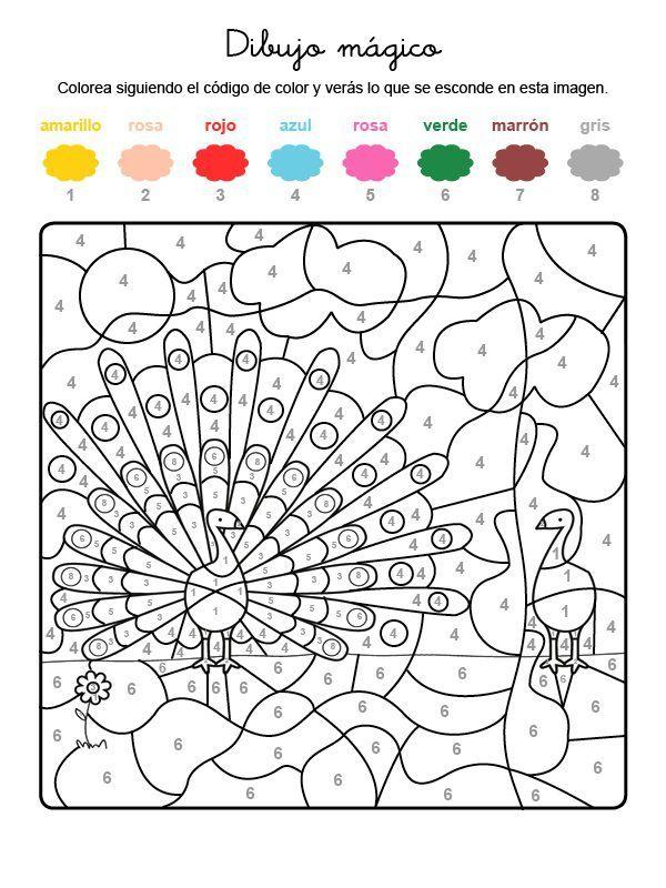 Dibujo Magico De Pavo Real Dibujo Para Colorear E Imprimir