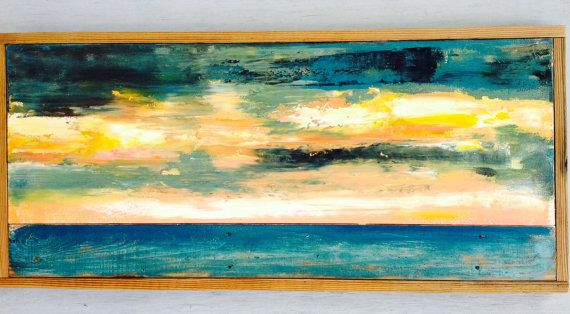 Abstract painting on canvas and distressed wood board,reclaimed wood ...