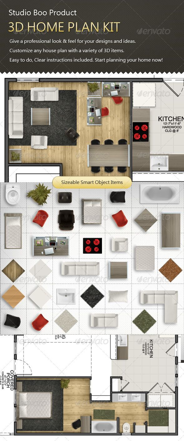 Home Design Kit Part - 35: 3D Home Plan Kit #GraphicRiver Studio Boou0027s Product, Home Plan Mock Up.  Professional