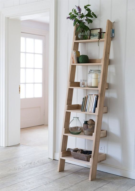 How To Build A Diy Leaning Ladder Shelf Step By Step Guide Brepurposed Oak Shelves Ladder Shelf Decor Shelves