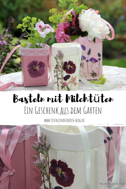 Kreativ Freitag No 10 Basteln Mit Milchtuten Ein Geschenk Aus Dem Garten Tischlein Deck Dich In 2020 Diy Vase Upcycling Ideen Geschenke