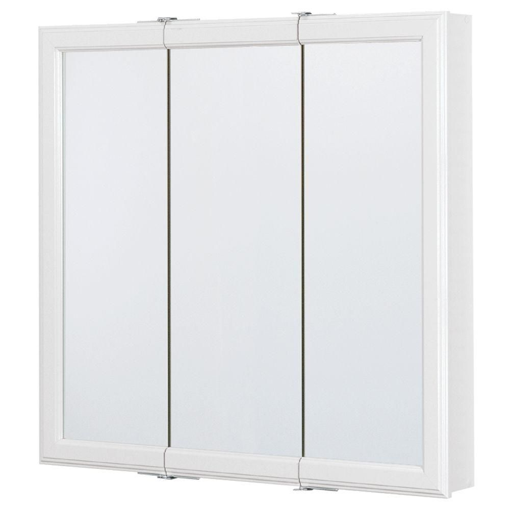 Home Depot Medicine Cabinet With Mirror Alluring Glacier Bay 30 Inw X 30 Inh Framed Surfacemount Triview