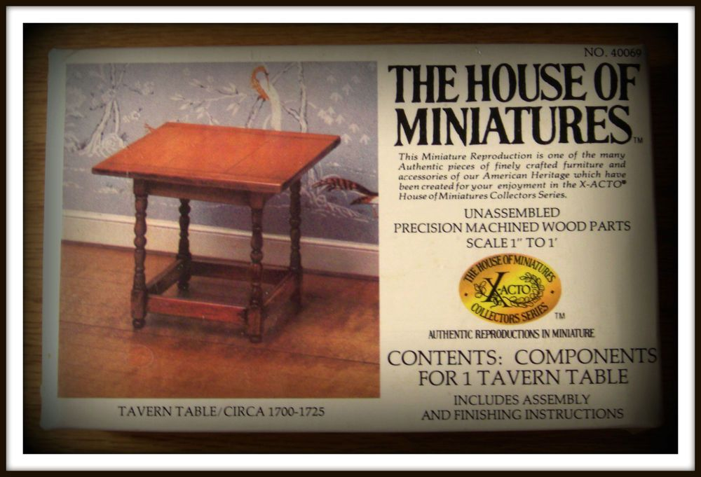 RARE DOLLHOUSE HOUSE OF MINIATURES TAVERN TABLE KIT, COLONIAL ANTIQUE  REPLICA $9.50 + 4.25 shipping - RARE DOLLHOUSE HOUSE OF MINIATURES TAVERN TABLE KIT, COLONIAL