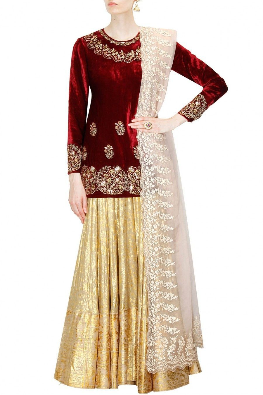 8f112c94d5 This maroon kurta with Golden lehenga set features in velvet handcrafted  with gold and silver sequined and embroidered floral and leaf motifs around  the ...