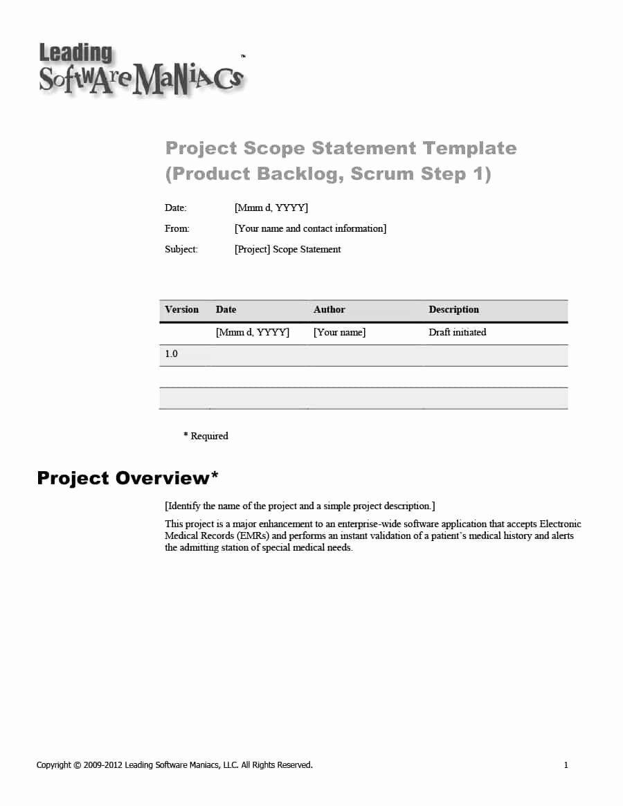 Project Scope Statement Template Elegant 43 Project Scope Statement Templates Examples Template Lab Statement Template Templates Statement