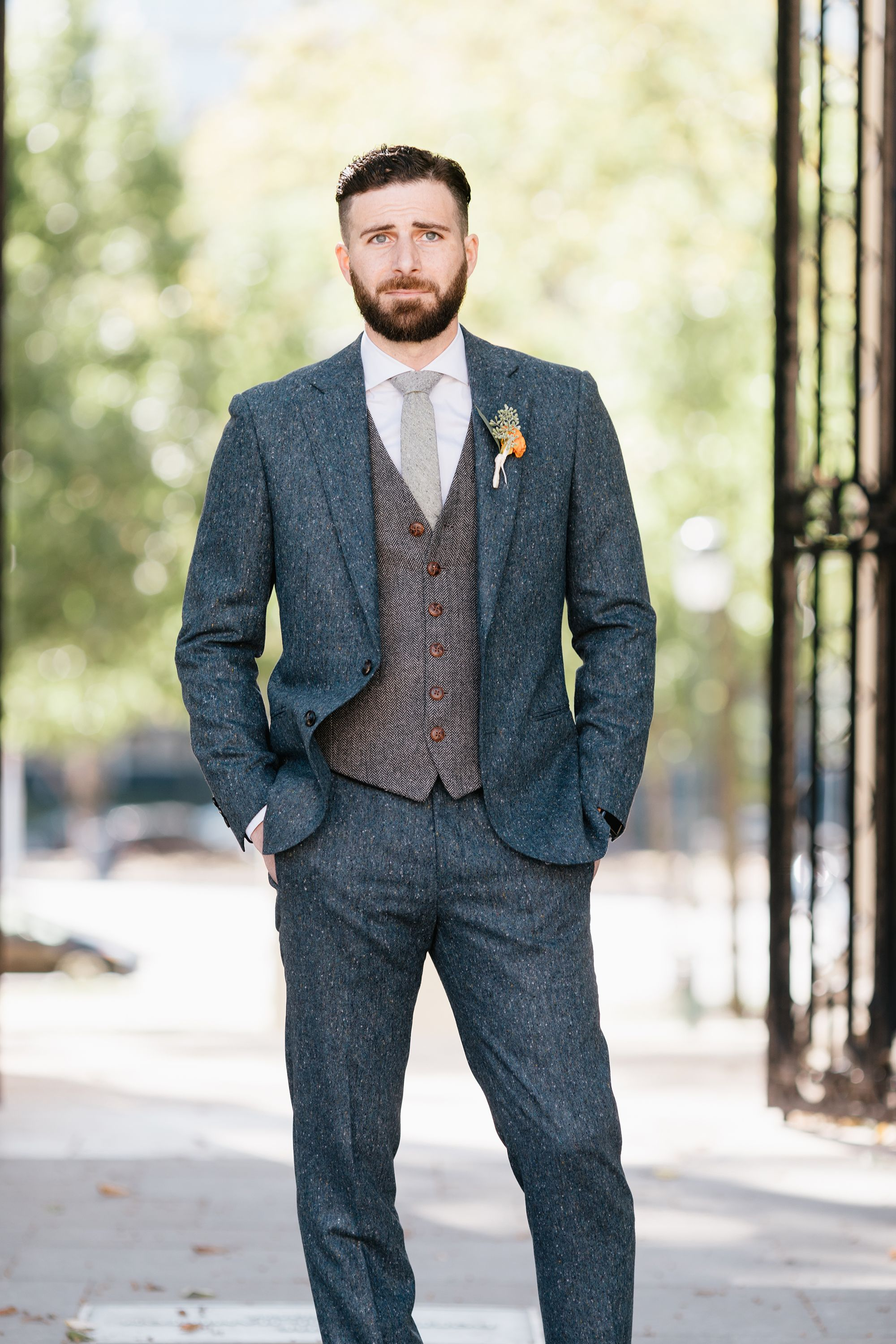 Our client looking sharp on his wedding day! Customsuit