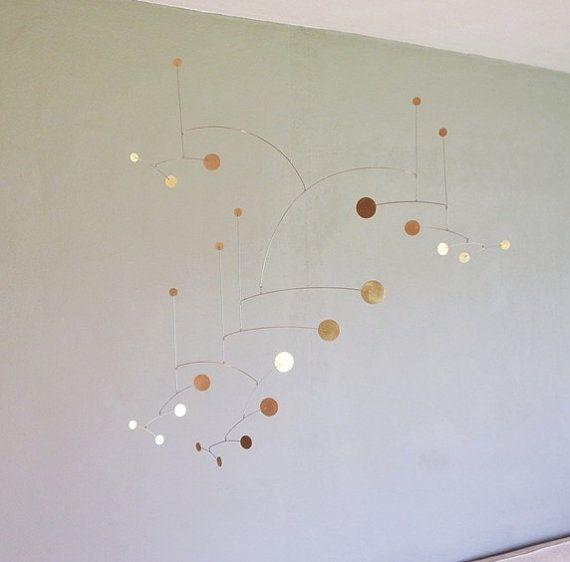 """Brass Dots Metal Art Mobile, 30"""" X 30"""" Size"""