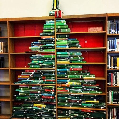 Book Puke 5 Christmas Trees Made Out Of Books Book Christmas Tree Book Tree Book Display