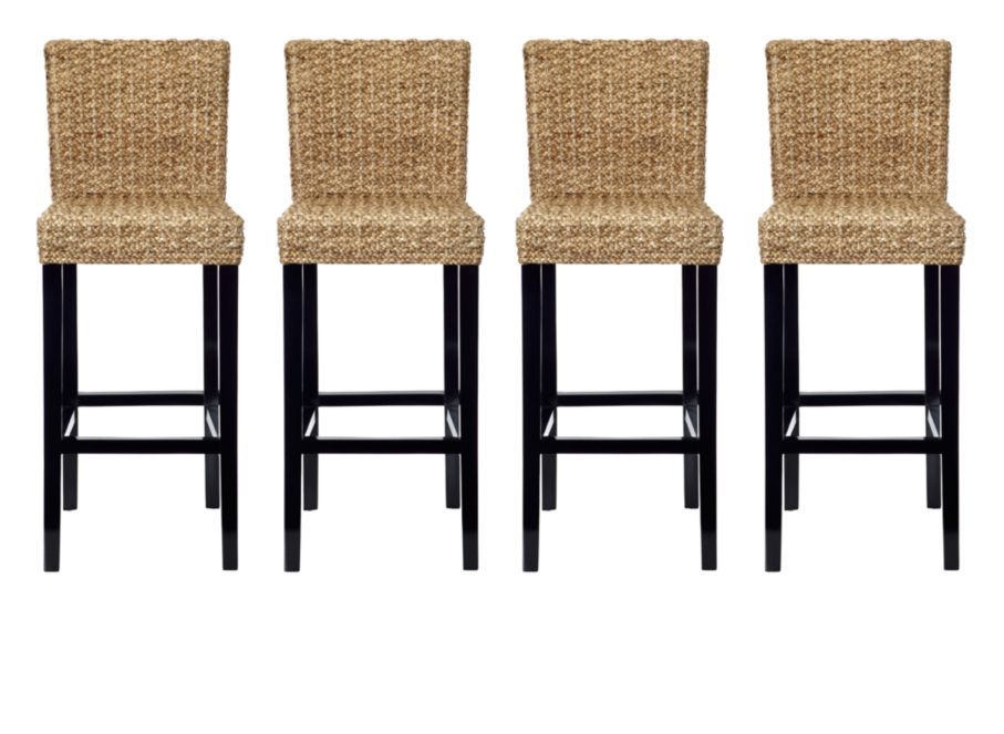 Glass Wood Dining Table, Chic Combo 4 Hyacinth Bar Stools Dining Combos Chic Combos Furniture Z Gallerie Bar Stools Affordable Modern Furniture Stylish Home Decor