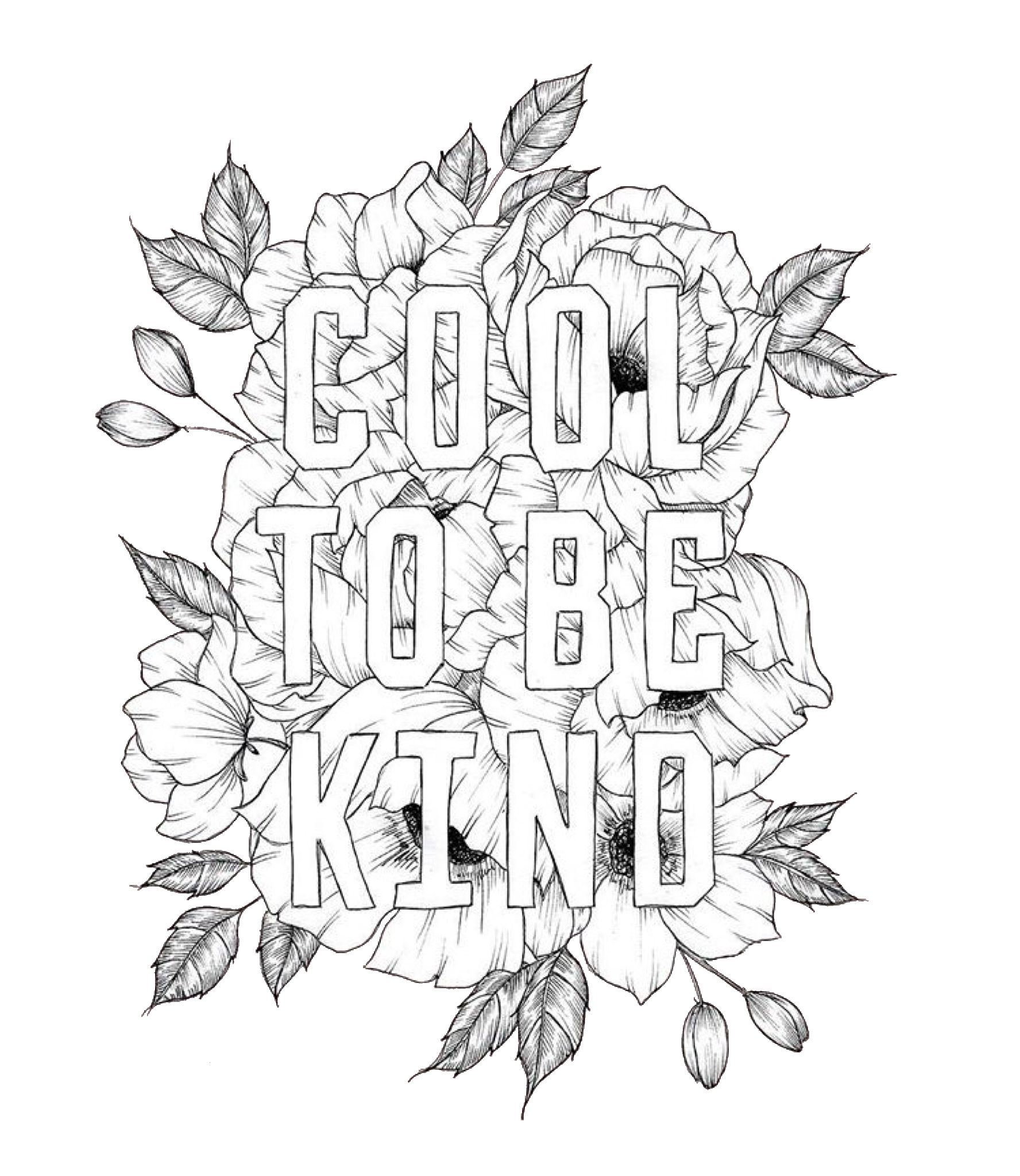 """""""cool to be kind"""" quote coloring page  free printable"""