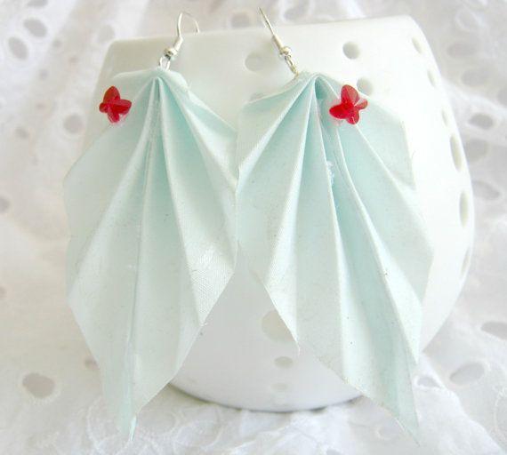 Mint Origami Leaf Earrings Fabric Origami Folded by jewellerybijou, $10.50