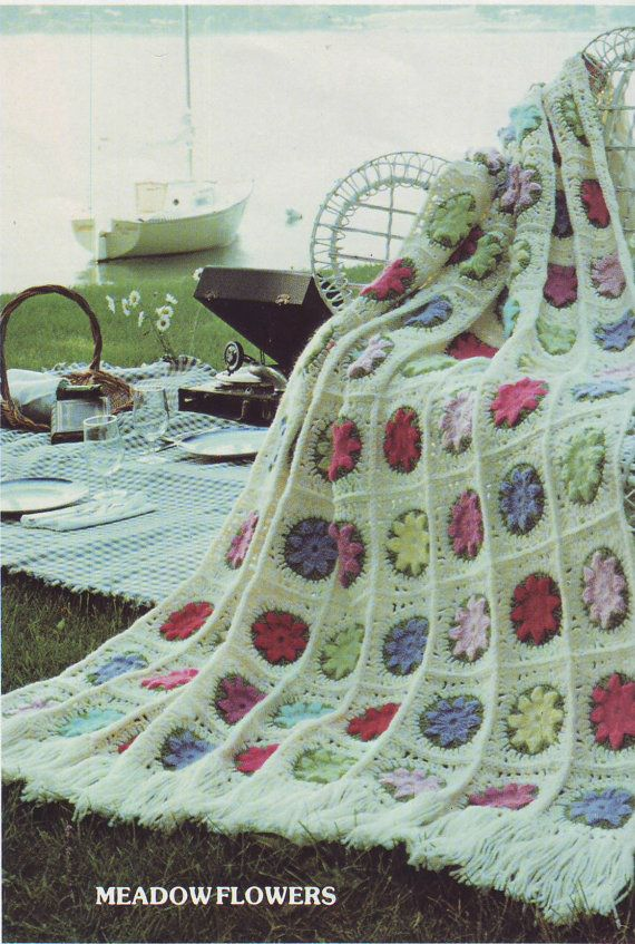PDF FILE Crochet Pattern - AFGHAN Crochet Meadow Flowers pdf No.201223 Vintage