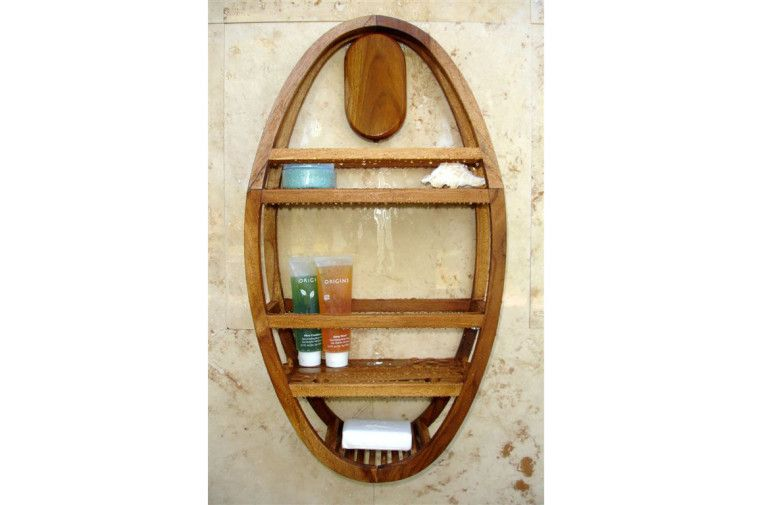 Bathroom Solid Teak Wood Shower Caddy In Oval Frame With Two Shelves And Razor Holder Plus Soap Tray And Hanging Teak Shower Shelf Teak Shower Shower Shelves